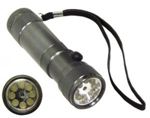 8 LED Silver Metal Flashlight w/ Red Dot Laser Pointer