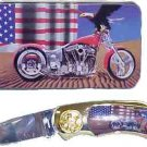 Chopper/Eagle/USA Flag Knife in Metal Tin