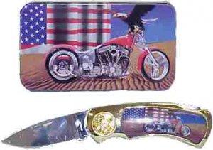 Chopper/Eagle/USA Flag Knife in Metal Tin