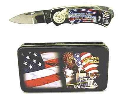 American Trucker Knife in Metal Tin
