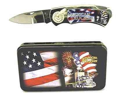 American Trucker Knife in Metal Tin