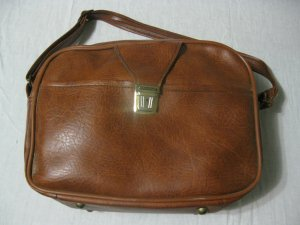 Vintage Tan Leather Travel Bag by Scovill