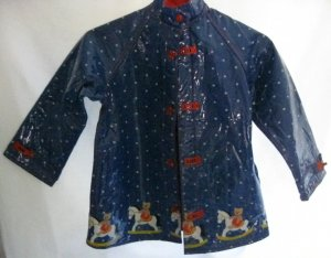 "Girl's Blue ""Rocking Horse"" Rain Coat -  Size 7"