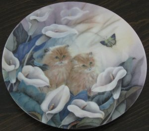 Alluring Lilies Cat Plate by The Bradford Exchange