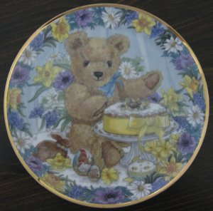 Teddy's Easter Treat Cat Plate by The Franklin Mint