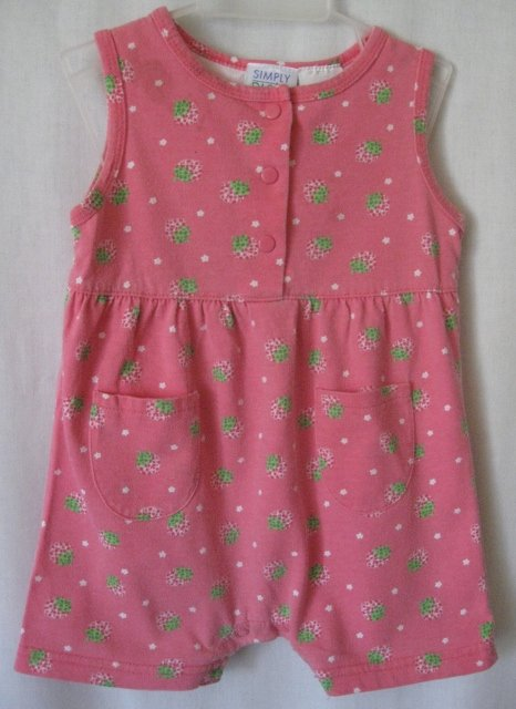 Girl's Strawberry Romper - Size 12 months