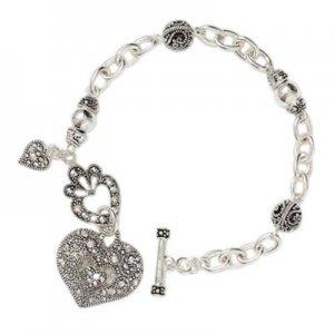 Marcasite Heart Charm Bracelet