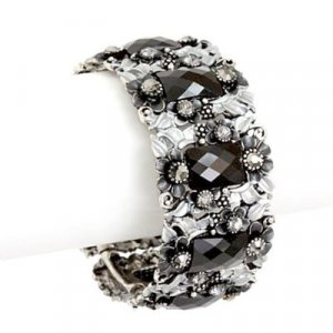 Black and White Crystal and Flower Crystal Bangle Bracelet