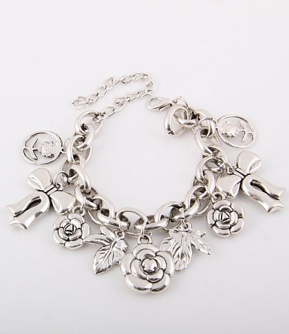 Flowers and Ribbons Charm Bracelet