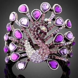 Purple Swarovski Crystal Peacock Bracelet