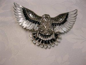 Rhinestone and Black Silver Tone American Eagle Belt Buckle