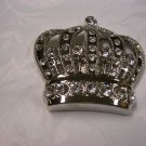 Rhinestone Silver Tone Crown Belt Buckle