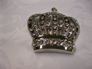Rhinestone Silver Tone Crown Belt Buckle