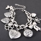 Four Leaf Clover, Hearts and Ribbons Charm Bracelet - FREE SHIPPING
