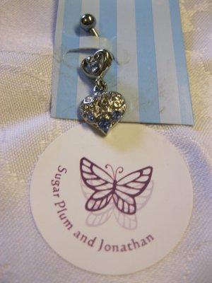 Clear Swarovski Crystal and Rhinestone Heart Belly Jewelry