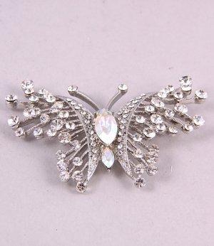 Geniune Austrian Clear Rhinestone Butterfly Brooch