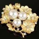 Simulated Pearls and Flowers, Crystals and Rhinestones Brooch