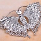Vintage Carved Majestic Crystal Rhinestone Butterfly Brooch,  Silver Tone