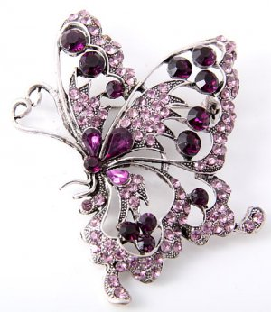 Purple Butterfly with Crystals/ Rhinestone,
