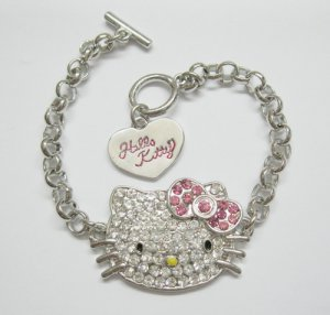 Out of Stock...Girls Hello Kitty (Bling) Charm Bracelet, Silver Tone