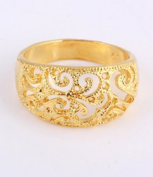 Gold Plated Filigree Rings, Size 8,