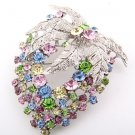 Flower Brooch, Multi-color Swarovski Crystals and Rhinestones