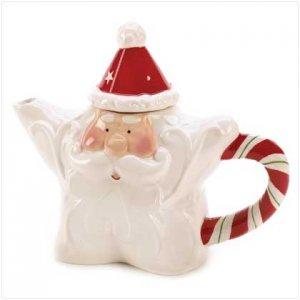Christmas, Candy Cane Santa Tea Pot