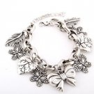 Butterflies, Leaves and Ribbon Charm Bracelet