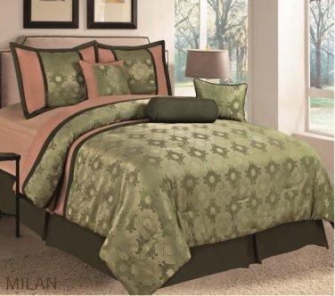 7 PC Milan Comforter Set, Olive