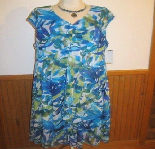 Connected Apparel Blue Floral Dress, Size 14W