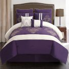 8 Piece Embroidered Comforter Set, Purple / White