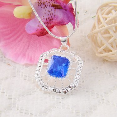 BNWOT ~ Sky Blue Sterling Silver Hexagon Pendant/Necklace