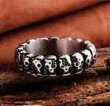 BNWOT ~ Stainless Steel Skeleton Skull Head Ring, Size 8