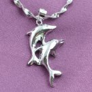 BNWOT ~ Double Dolphin Necklace w/ .925 Silver Chain