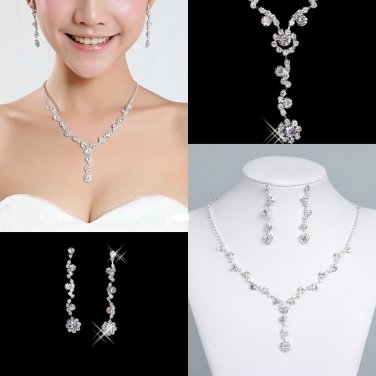 BNWOT ~ Rhinestone and Crystal Elements Running Flower Jewelry Set