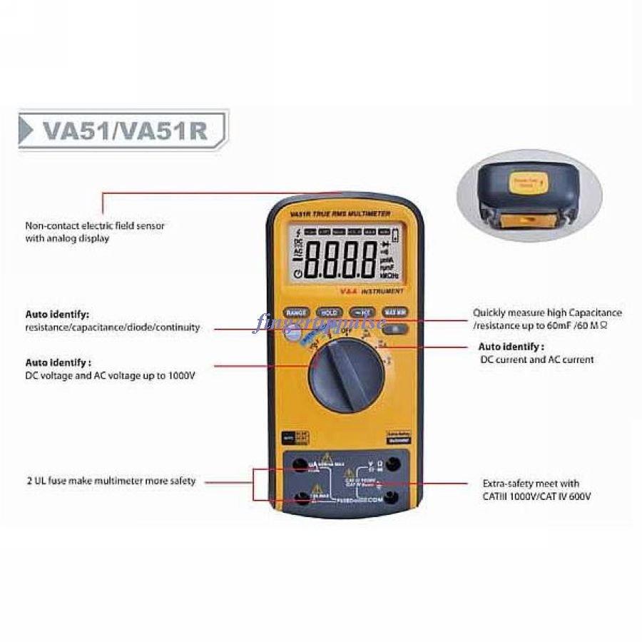 6K counts DC AC Ω μF KHz Auto Identify Multimeter VA51