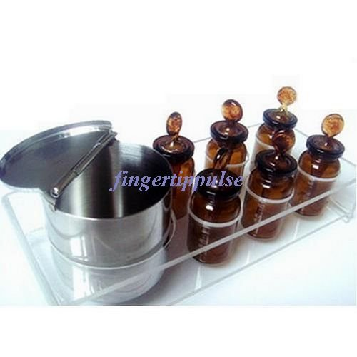 1 Set Dental Medical Glass Bottles Dropper Six Small One Metal