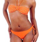 Envya Polka Dot Ruched Bandeau Halter Bikini Bathing Suit
