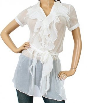 LAST ONE IN STOCK!!! Sweet Candy Vertical Ruffle Sheer Tunic Cover Up