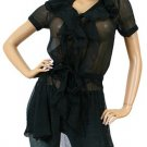 Sweet Candy Vertical Ruffle Sheer Tunic Cover-Up