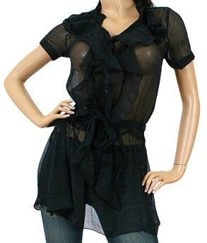 LAST ONE!!! Vertical Ruffle Sheer Tunic Cover-Up Fashion