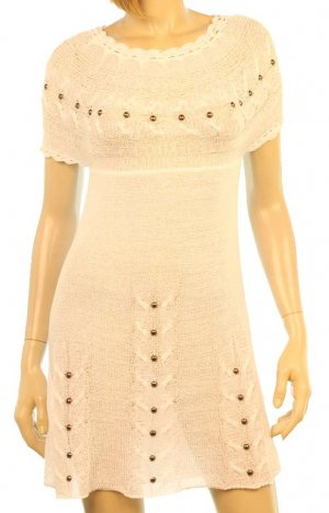 LAST ONE!! Crochet Cable Knit Studded Cover Up Dress Fashion