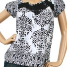 LAST ONE IN STOCK!!! Satin Damask Print Floral Applique Top