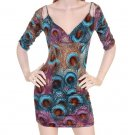 LAST ONE IN STOCK!!! True Light Peacock Peekaboo Shoulder Plunge Mini Dress Tunic Top