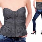 Zip Up Strapless Denim Ruffle Corset Top Blouse Fashion