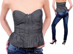 Hello Miss Zip Up Strapless Denim Ruffle Corset Top Blouse