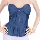 Hello Miss Blue Zip Up Strapless Denim Ruffle Corset Top Blouse