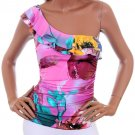 Janice Pink Multi Vibrant Tropical Print 1 Shoulder Ruffle Top Blouse