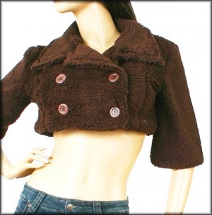 Sweett Brown Faux Fur Double Breasted Crop Jacket Bolero