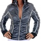 Biker Chic Blue Crushed Racing Moto Fitted Jacket Fashion